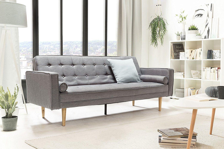 Salesfever Designer Schlafsofa Couch Mit Schlaffunktion Stoff Grau Holz Eiche Fsc 100 Zertifiziert Amazon
