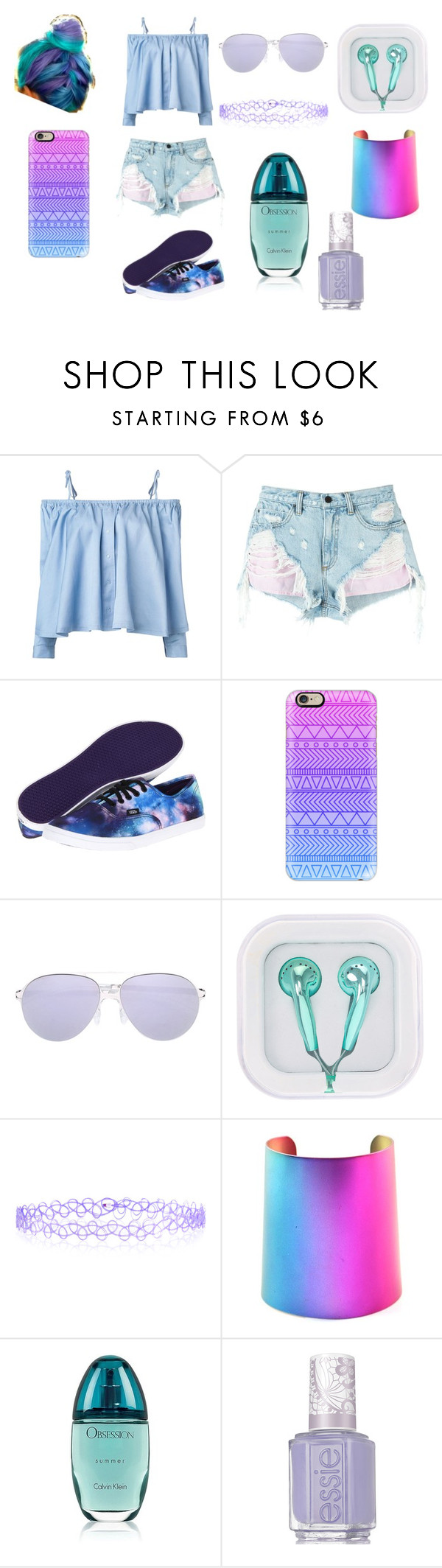 """purple blue set"" by evagelialove on Polyvore featuring Sandy Liang, Alexander Wang, Vans, Casetify, Mykita, Monsoon, Calvin Klein and Essie"