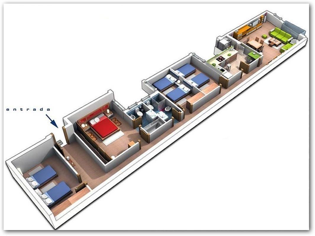 Plano de casa angosta en 3d espacios peque os muebles for Hacer casas en 3d online