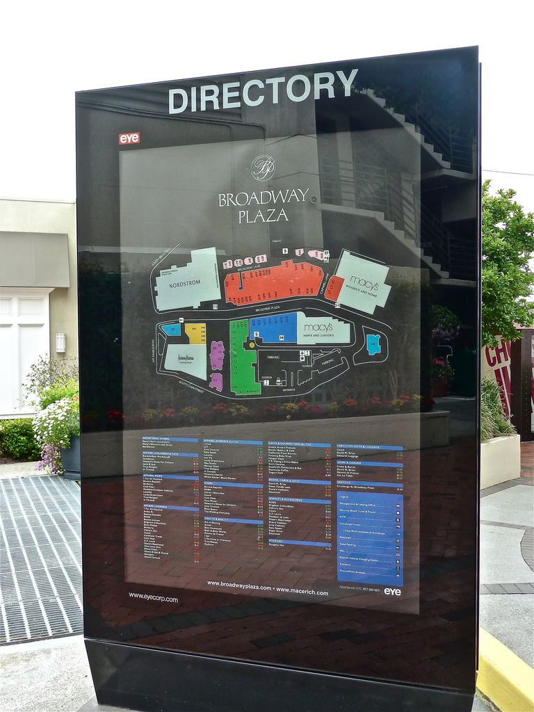 City Creek Mall Map : creek, Broadway, Plaza, Walnut, Creek,, California, Wayfinding, Signs,, Signage,, Signage