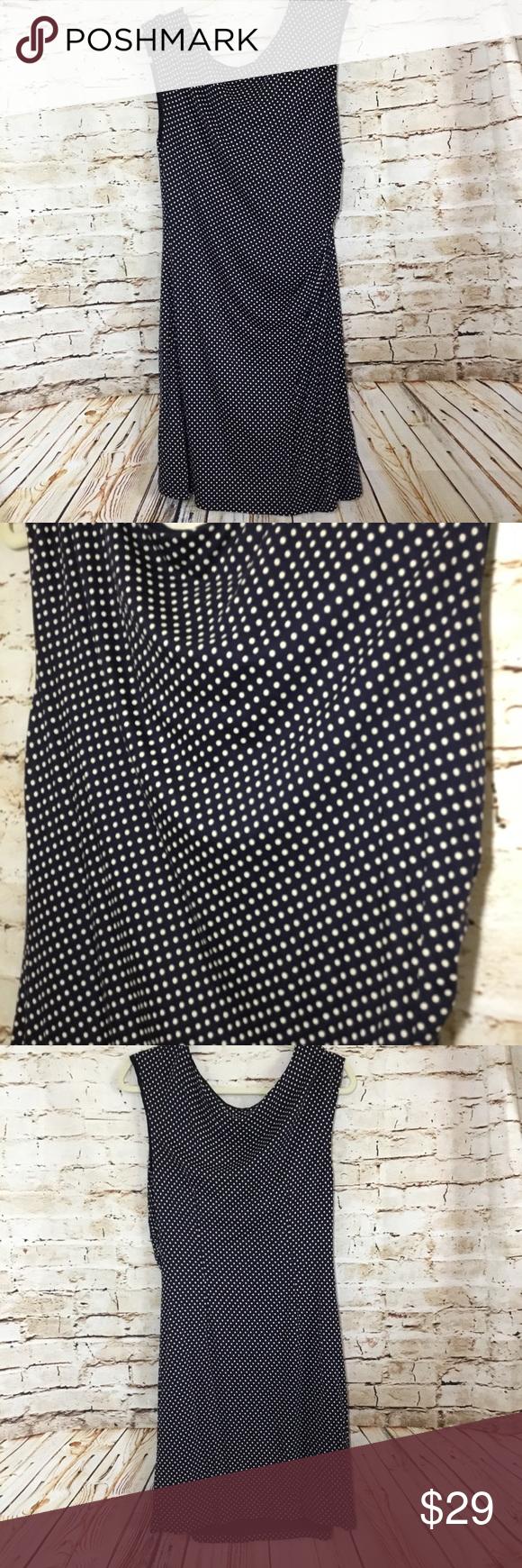 Loft Polka Dot Dress Ann Taylor LOFT Petite Large Navy