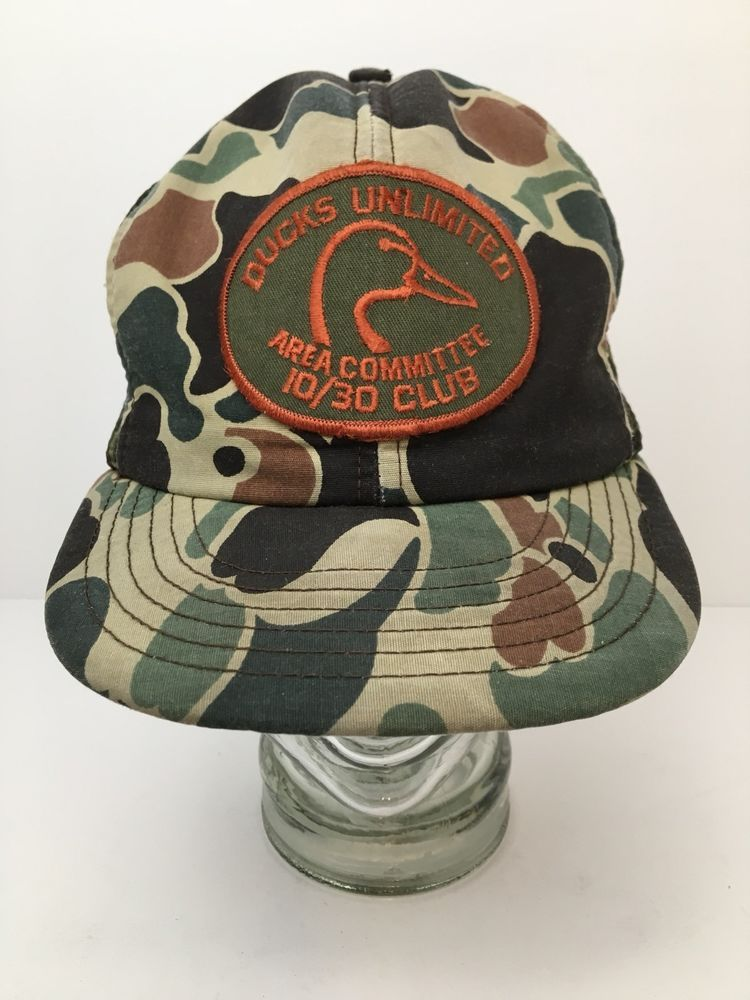 61897a9c40c96 Vintage Ducks Unlimited Camo Snapback Cap Hat Area Committee 10 30 Club  Patch US  DucksUnlimited  BaseballCap
