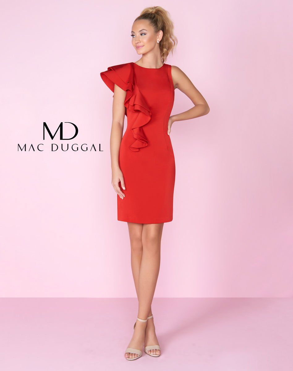 eed8e8fa379 Mac Duggal homecoming dress. Asymetrical short cocktail or interview dress  with one shoulder ruffle detail. From Dress   Party