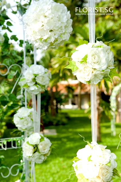 Victorian Classic White Wedding Arch Backdrop with Kissing Balls