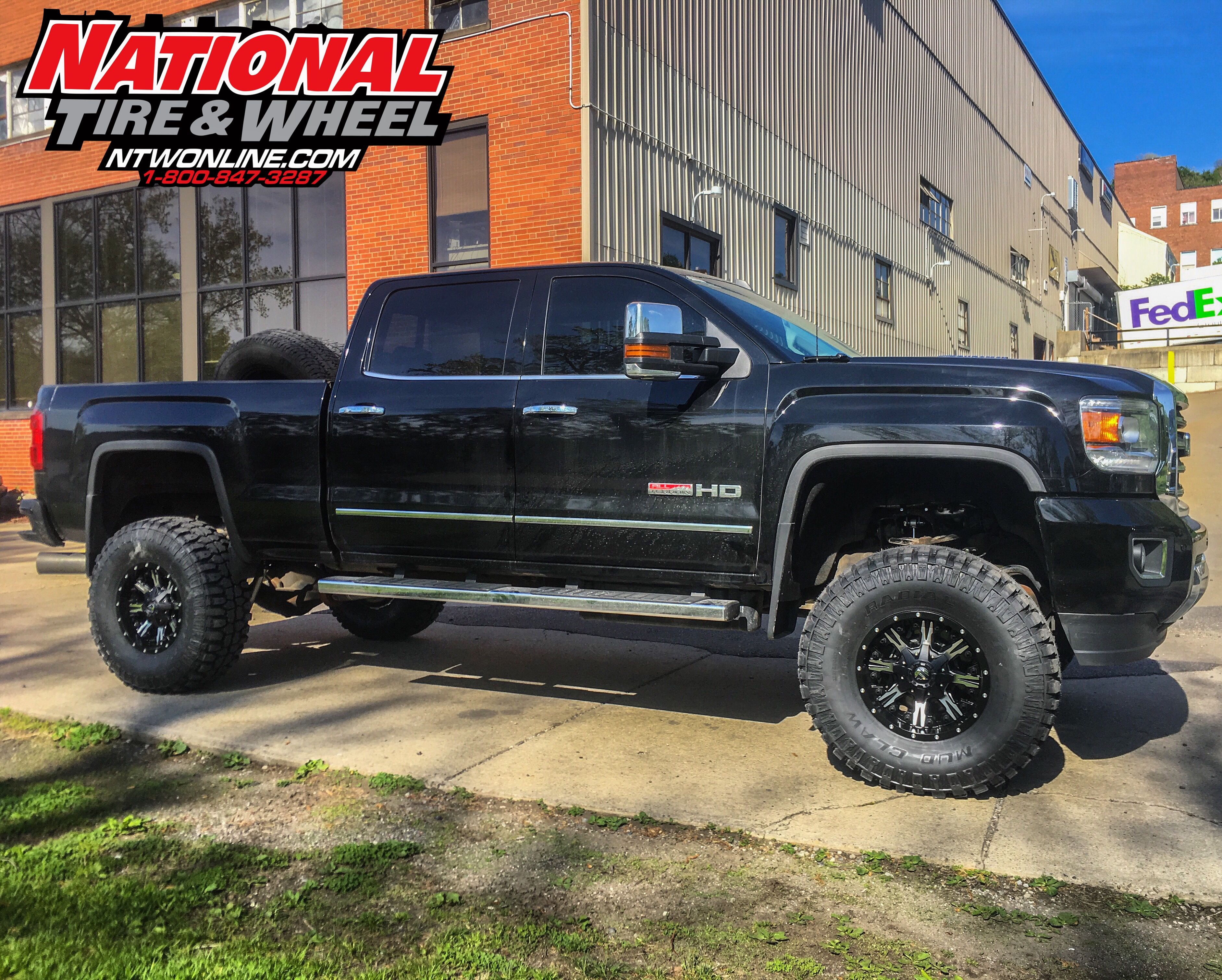 Ntw install this 2016 gmc received a rough country suspension system fuel off road nutz wheels and a set of radial mud claw m t tires