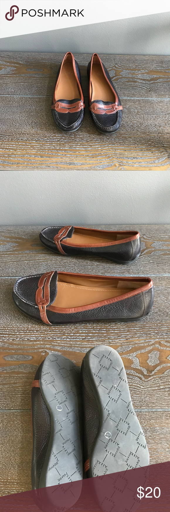 81f76c1ba9b Alex Marie flats 7M Black brown leather Dillard s Leather upper and manmade  sole Size 7 Dillard s exclusive Alex Marie Shoes Flats   Loafers