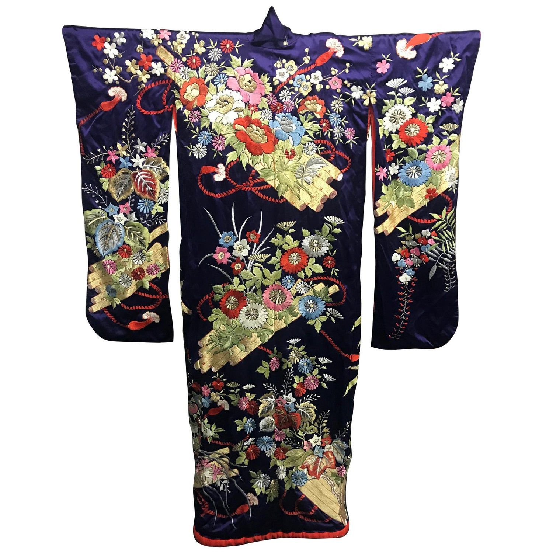 Exceptional Embroidered Brocade Vintage Japanese Ceremonial Kimono Vintage Japanese Art Deco Fashion Wedding Kimono Robe