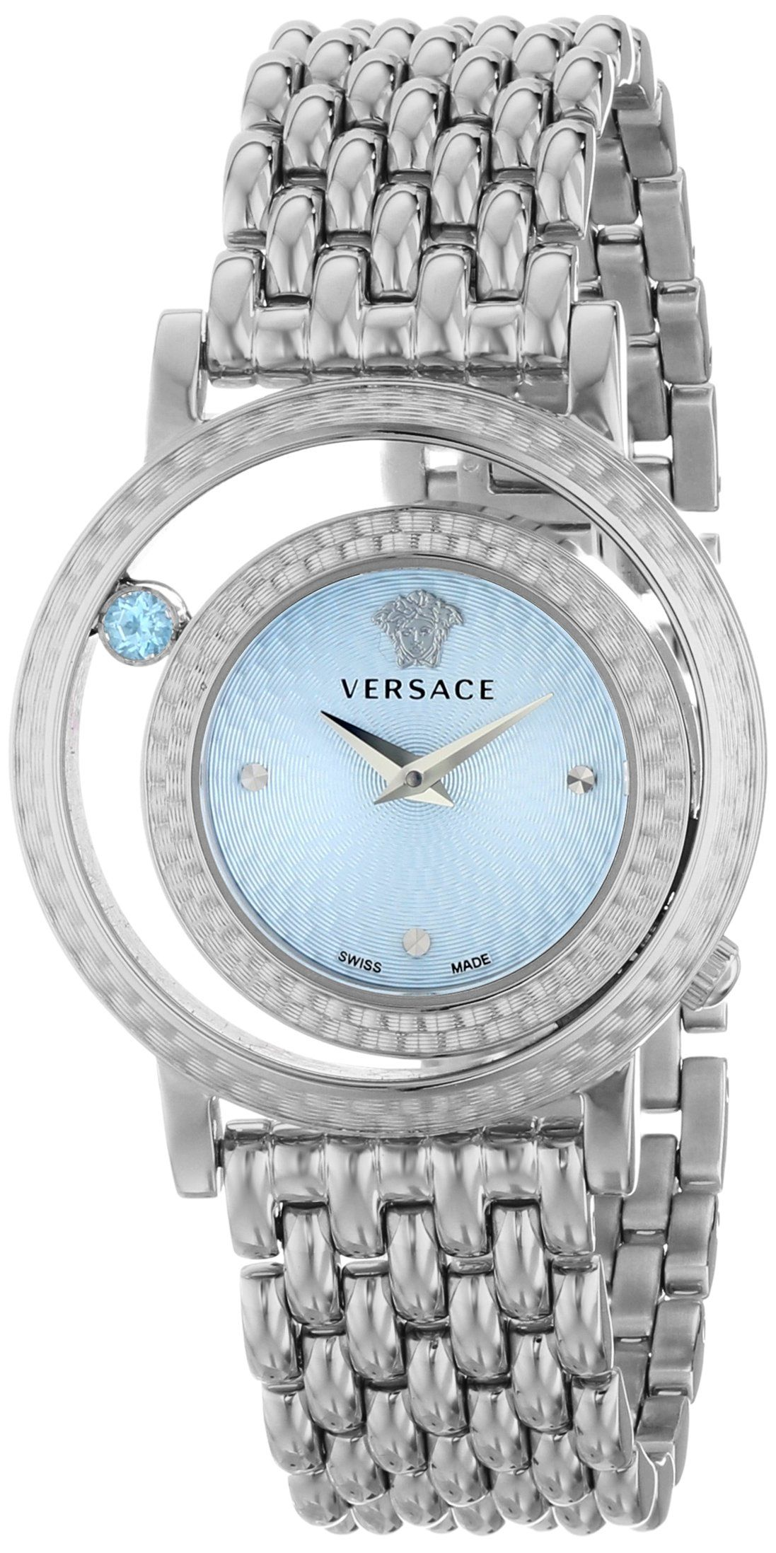 Versace womenus vda venus analog display quartz silver watch