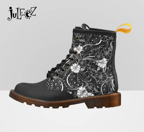 Now trending black and white flower print boots fashion boots dr marten