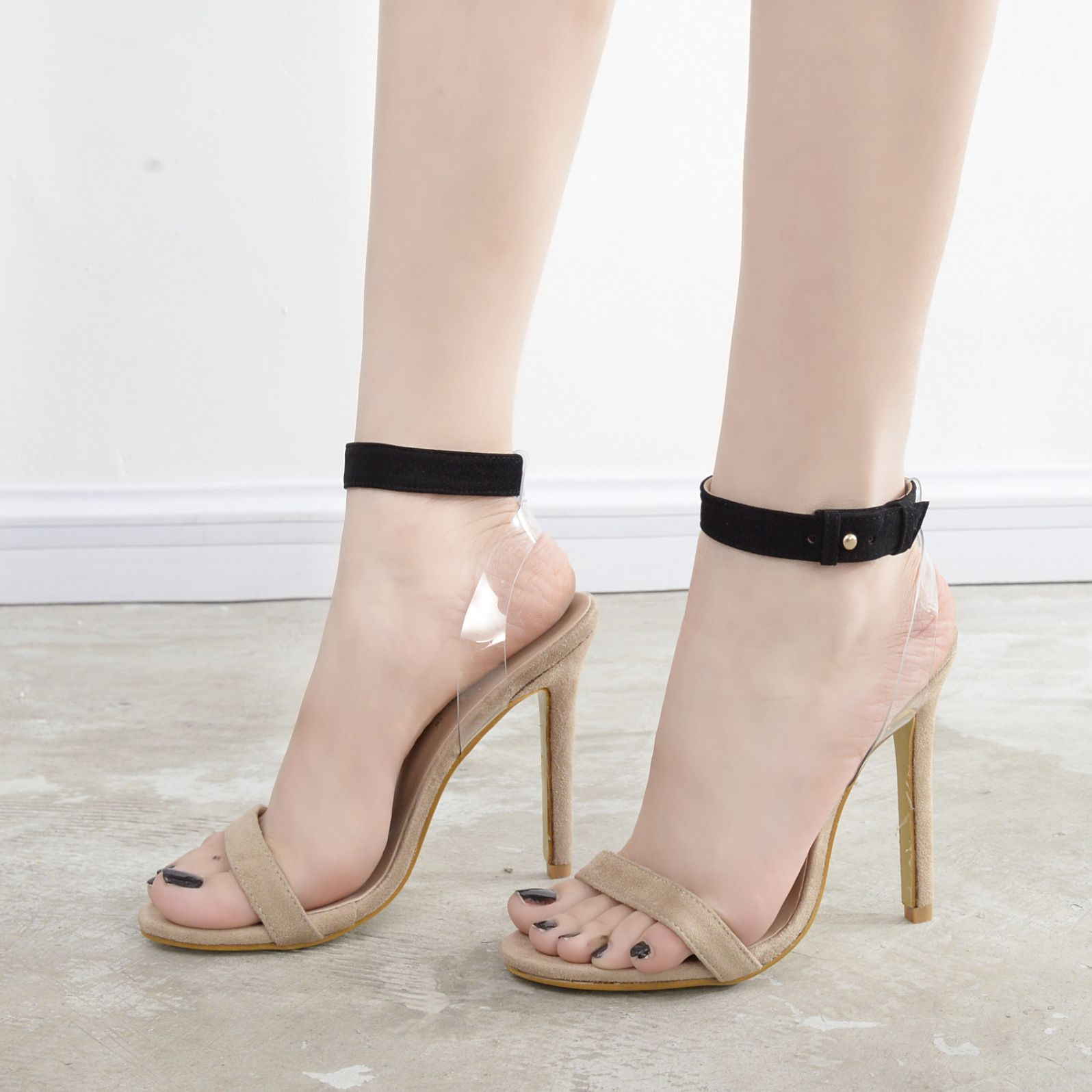 bc7cd217ef2f The Latest Women s Shoes New Sexy Goddess Essential Section Transparent  Film High-heeled Suede Sandals Shallow Mouth Sandals