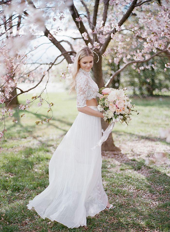 DC Cherry Blossom Wedding Shoot on Film | Bridal separates, Chiffon ...
