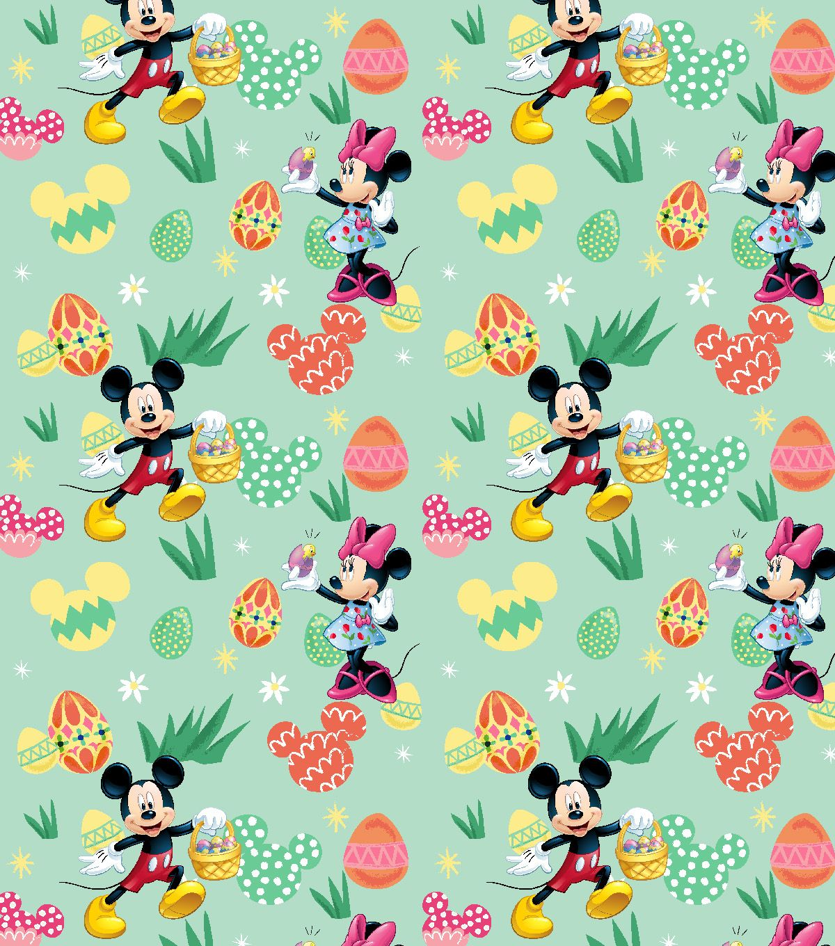 Disney Easter Mickey Minnie Cotton Fabric Eggs Hunt Disney Easter Disney Fabric Easter Wallpaper