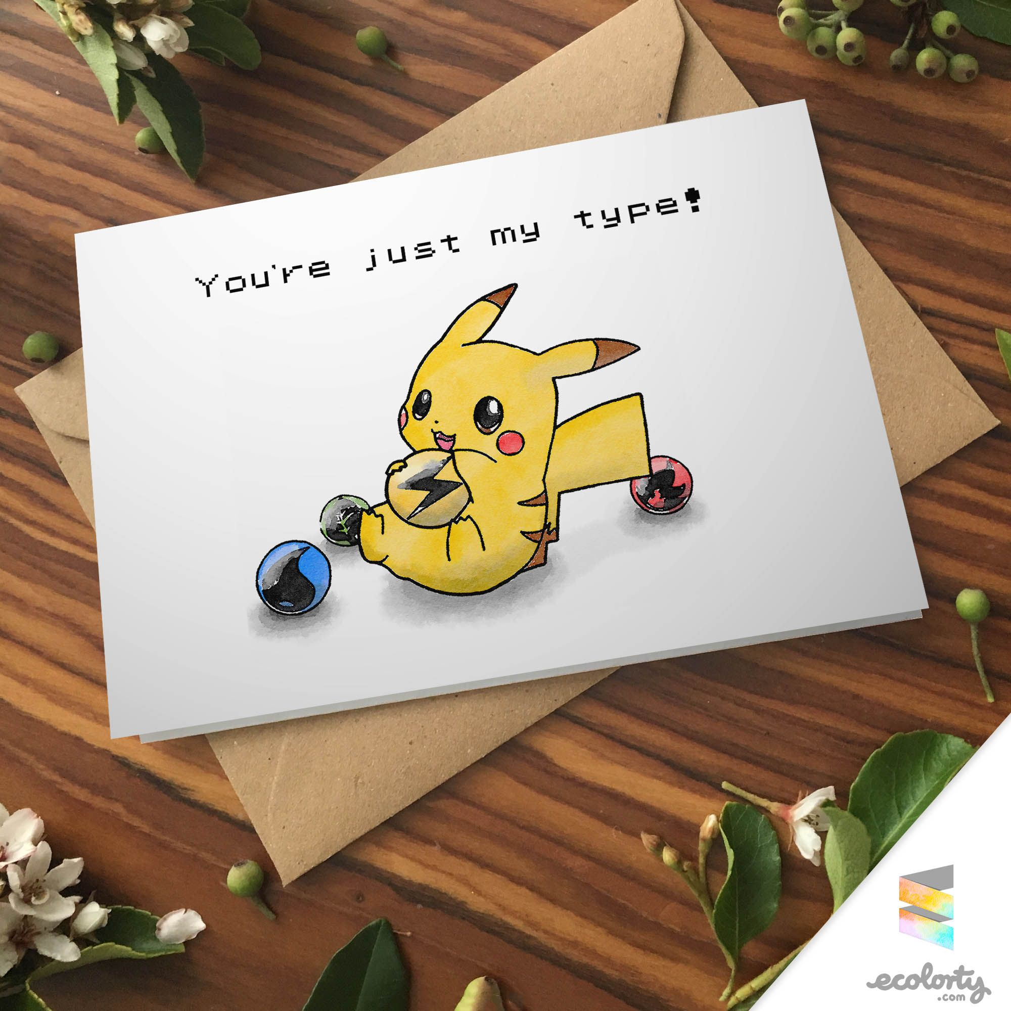 PIKACHU PUN BIRTHDAY Greeting Card Pun bday Cute by ecolorty – Birthday Pikachu Card