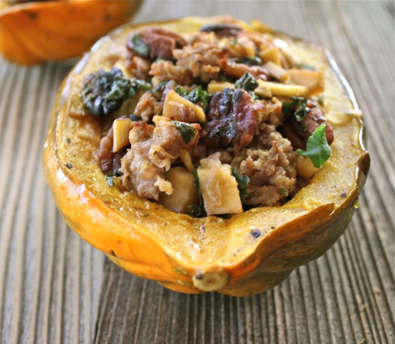 Maple Glazed Acorn Squash with Sausage, Apple and Sage