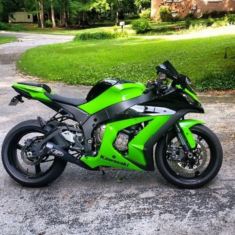Centrifugal Supercharger For Motorcycle: Green Kawasaki Ninja Zx10r Streetbike