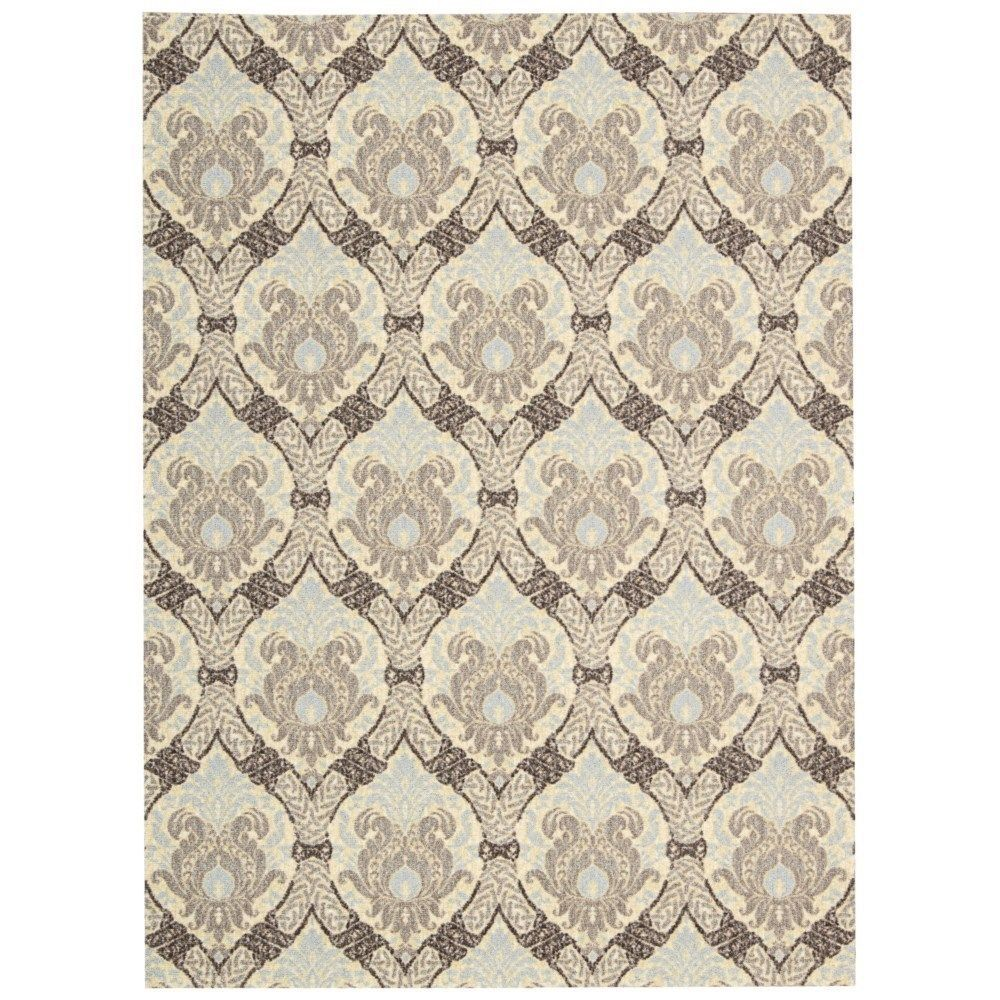 Waverly Treasures Dress Up Damask Birch Area Rug by Nourison (5' x 7') (5' x 7'), Beige, Size 5' x 7' (Polyester, Graphic)