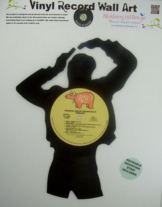 Recycled Vinyl Record GREASE Wall Art | Vinyl record crafts, Record ...
