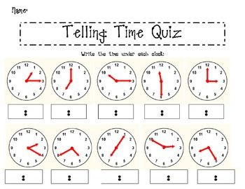 telling time quiz teaching math pinterest telling time math and school. Black Bedroom Furniture Sets. Home Design Ideas