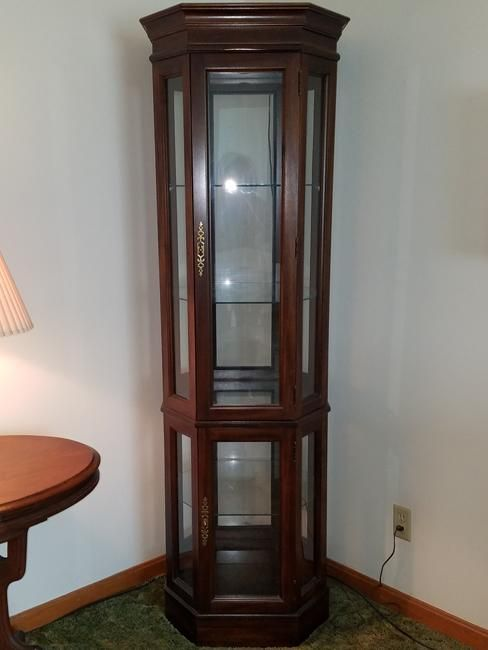 Stunning Custom Built Cherry Solid Wood Lighted Corner Curio Cabinet