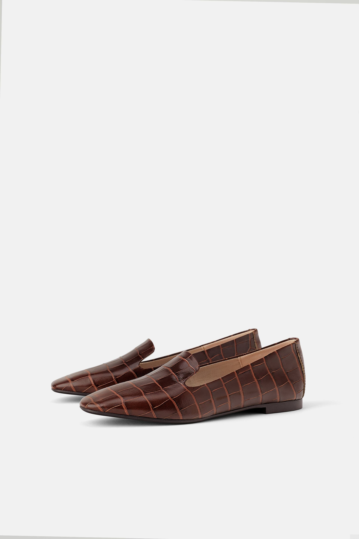 Animal print leather flat shoes Animal print shoes flats
