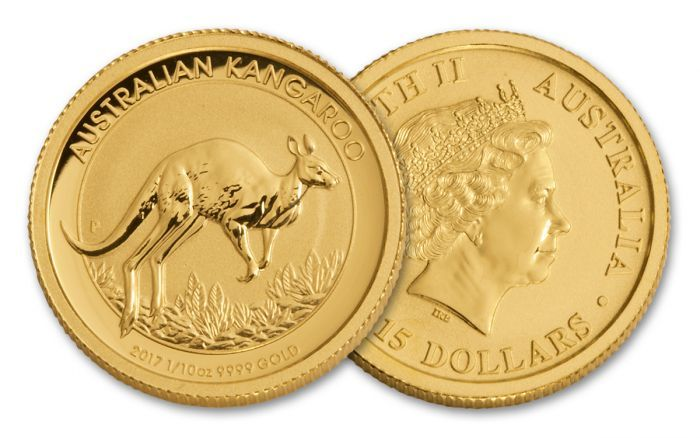 2017 Australia 15 Dollar 1 10 Oz Gold Kangaroo Bu Coin Coins Gold Art Pieces
