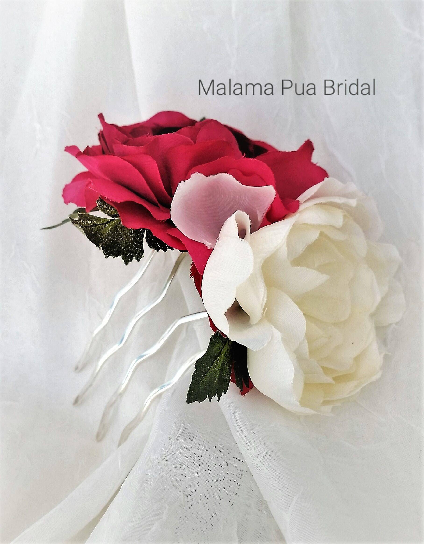 wedding hair b bridal hairpiece floral hair accessory ivory
