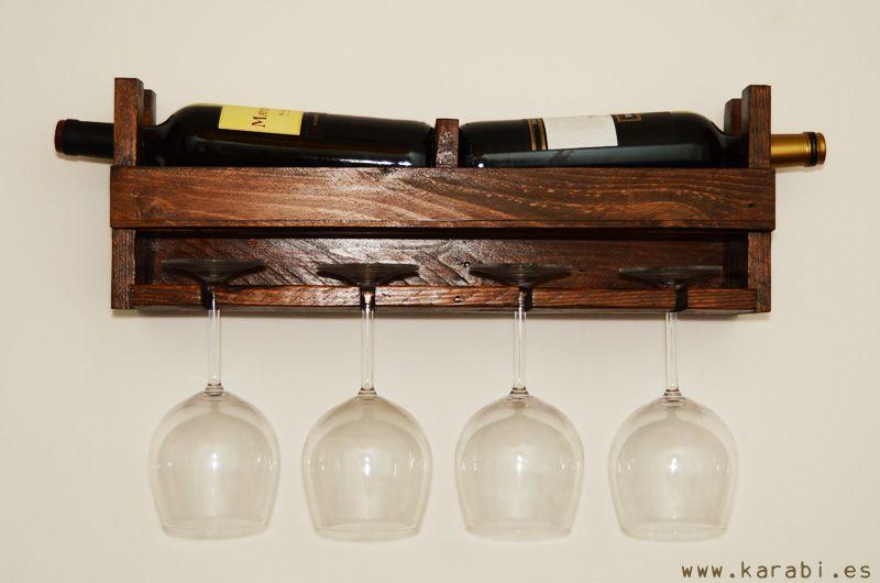Botellero para colgar copas hecho con madera alto 18 cm - Botellero de madera para vino ...
