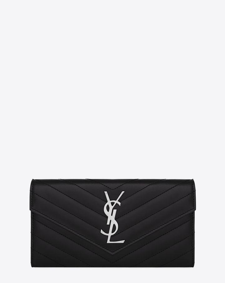 67a5728c392 Saint Laurent Large Monogram Saint Laurent Flap Wallet In Black Matelassé  Leather $745
