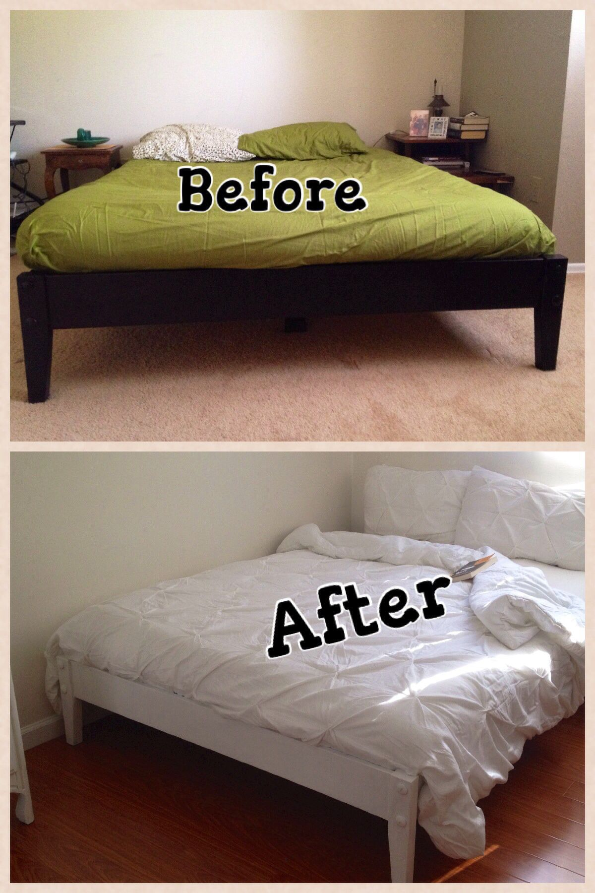 Best Before Black Contemporary Platform Bed After Repainted 400 x 300