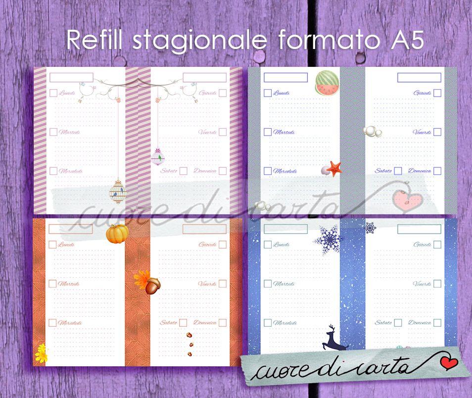 Refill stagionale una settimana su due pagine - formato A5  Seasonal refill one week on two page - A5