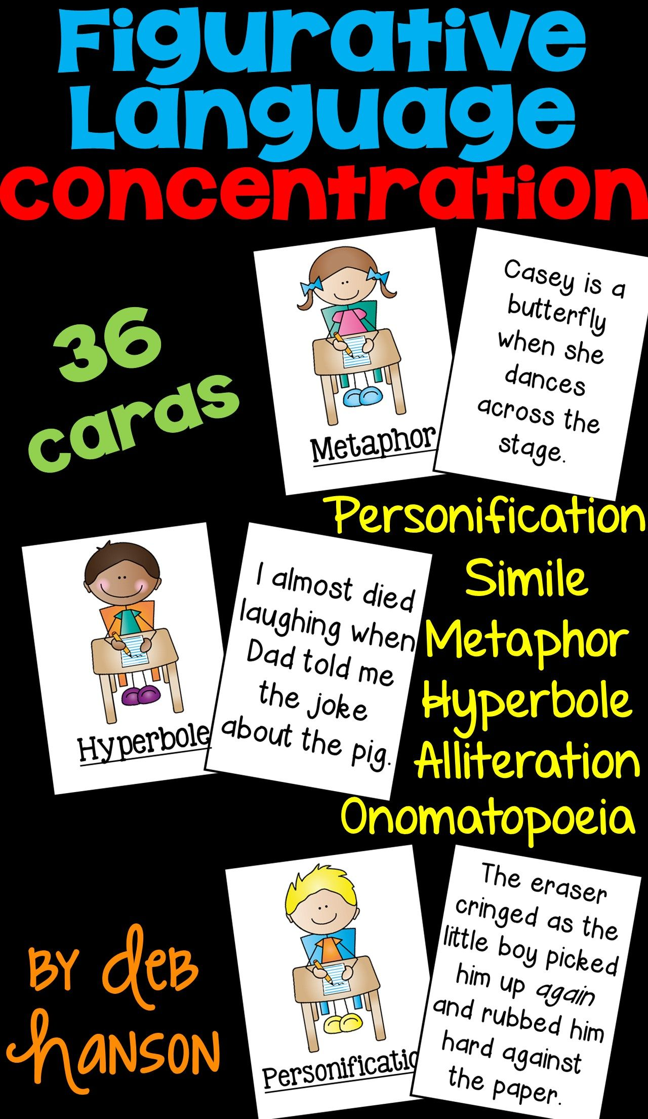 Figurative Language Concentration Game Simile Metaphor Alliteration Onomat