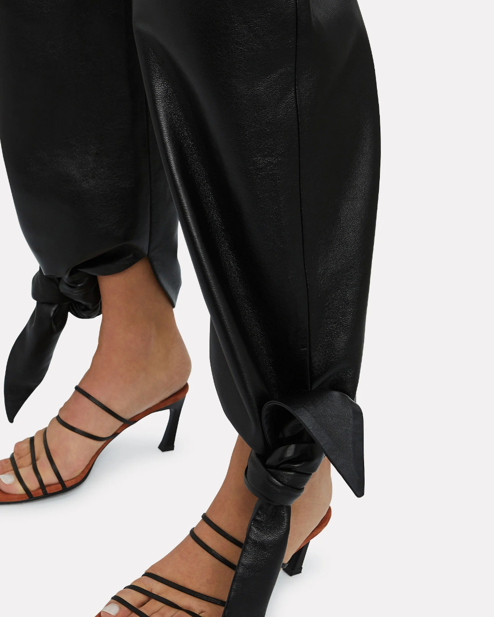 Vegan Leather Tie Ankle Pants In 2020 Ankle Pants Vegan Leather Pants
