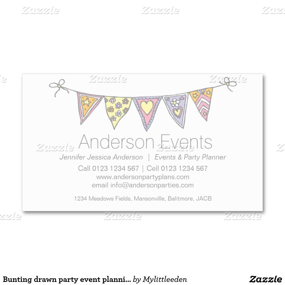 Bunting Drawn Party Event Planning Business Cards Zazzle Com In 2021 Party Planning Business Event Planning Business Cards Event Planning Business