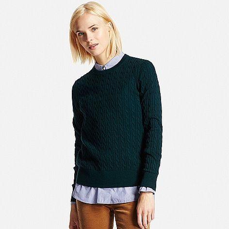 WOMEN Cotton Cashmere Cable Sweater-UNIQLOUKOnlinefashionstore