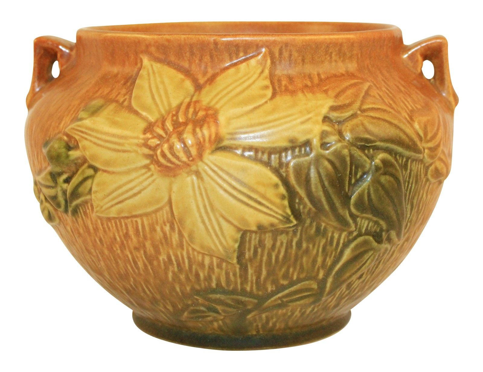 Roseville Pottery Clematis Brown Jardiniere 667 5 Roseville