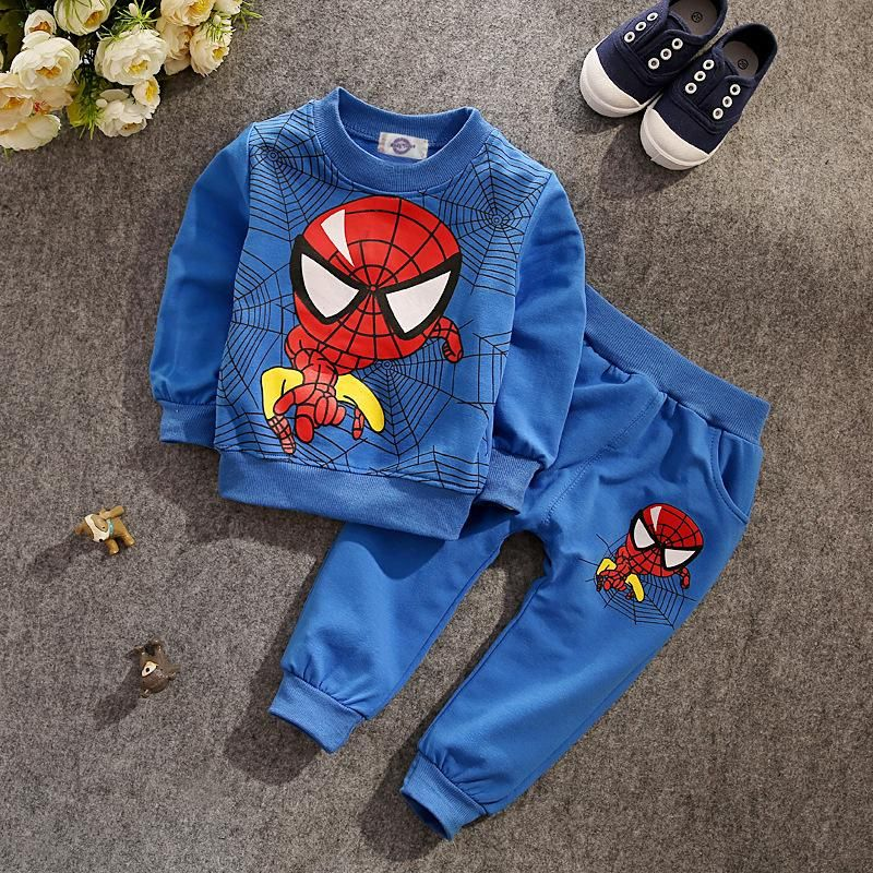 Spiderman Tracksuit Baby Kids Boy Hoodies Sweatshirt T-shirt Tops+Pants Outfits