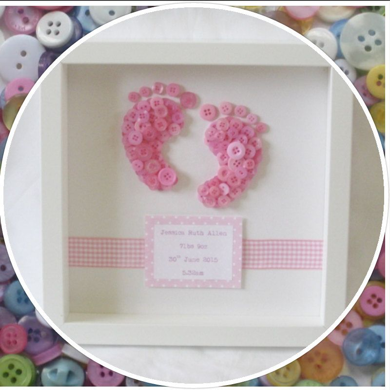 Handmade Personalised Baby Footprints Button Frame | Pinterest ...