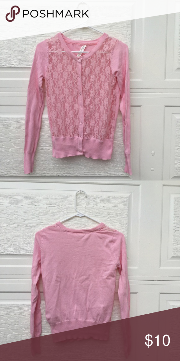 Pink Lace Button up Sweater Light pink button up sweater. Perfect ...