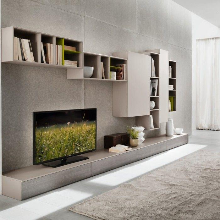 Wohnwand farben ideen  wandgestaltung ideen moderne wohnwand in neuraler farbe ...