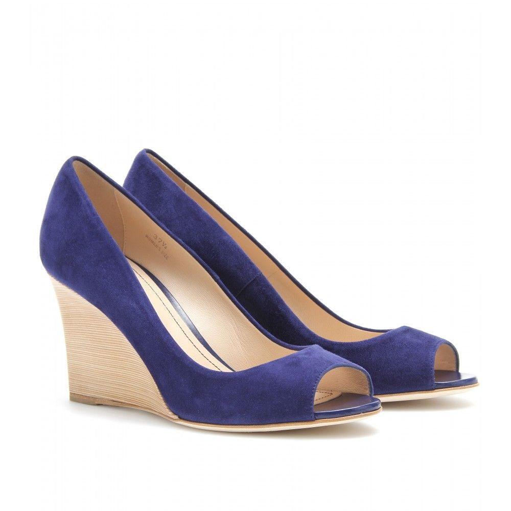 41f6a6d047 SUEDE PEEP-TOE WEDGES seen @ www.mytheresa.com | Shoes | Wedges ...