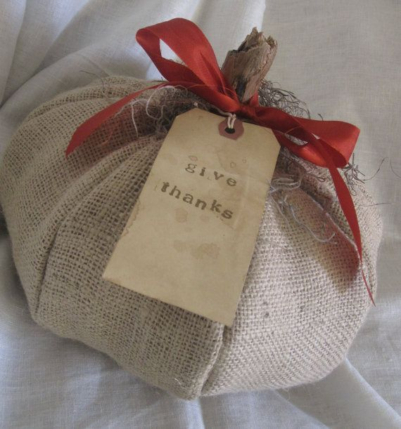 burlap pumpkin with vintage ribbon and aged by alliemilliedesigns, $15.00