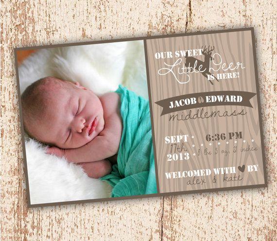 Little Deer Birth Announcement by YankeeBabyDesigns on Etsy – Birth Announcements Etsy
