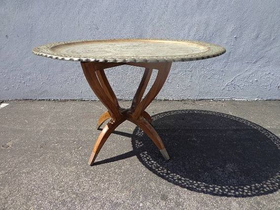 MCM Antique Brass Tray Table Coffee Spider Legs Metal Rustic Primitive Mid  Century Wood Bohemian Boho Persian Middle Eastern Etched Cocktail