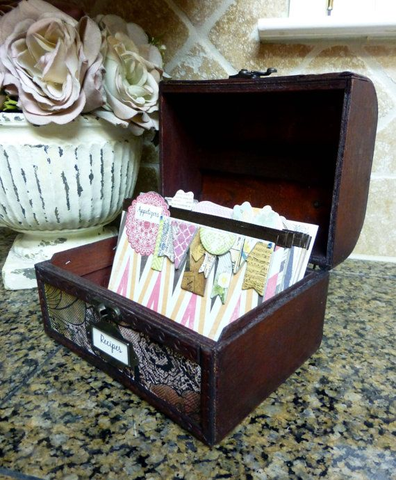 "Covered Recipe Box and Dividers - ""Chevron Print"" on Etsy, $48.00"