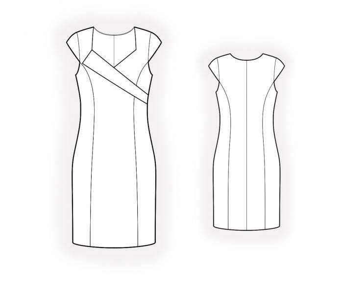 Dress With Asymmetrical Bodice - Sewing Pattern #4605 Made-to ...