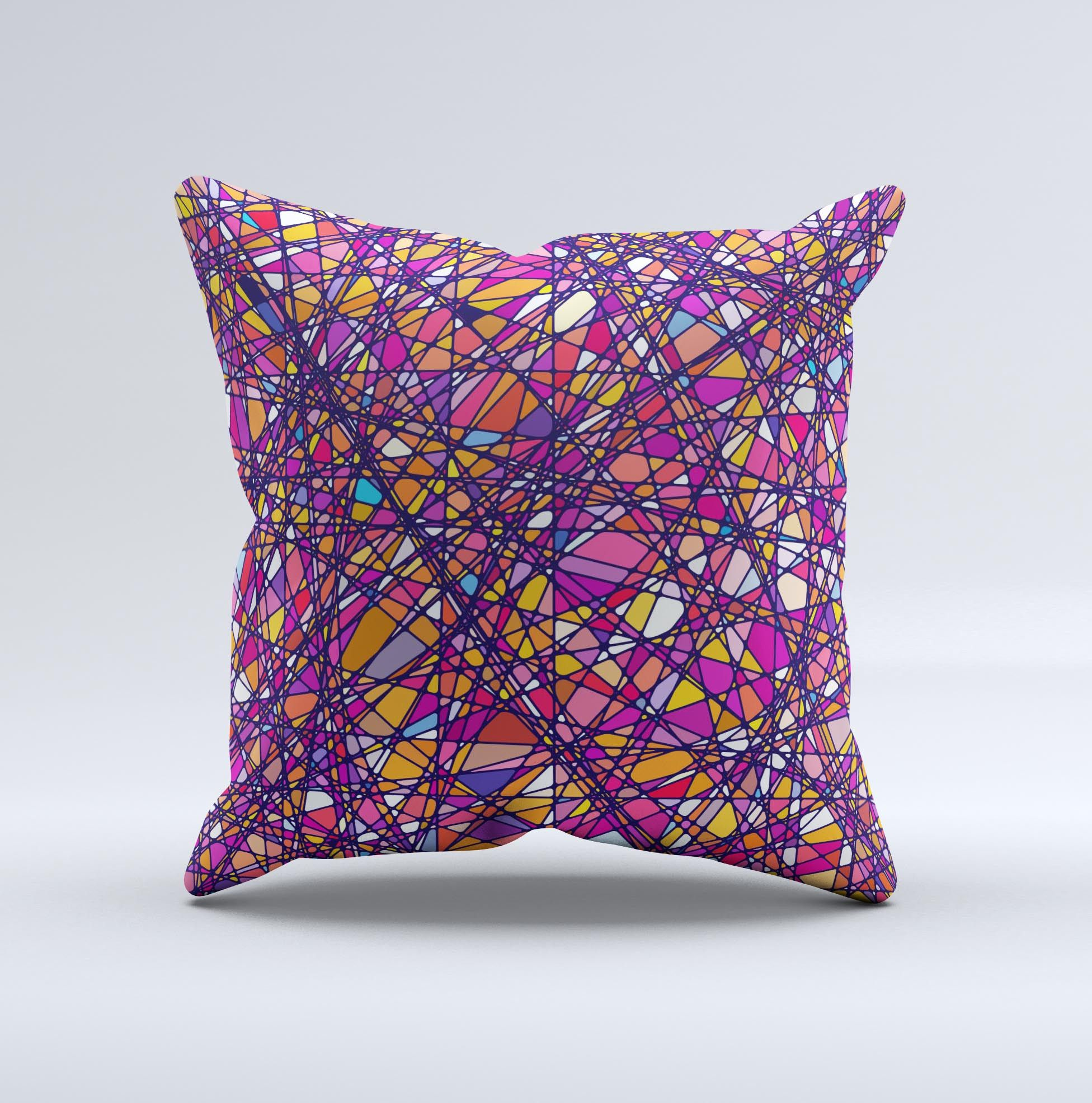 Shards of Neon Color  Ink-Fuzed Decorative Throw Pillow from DesignSkinz
