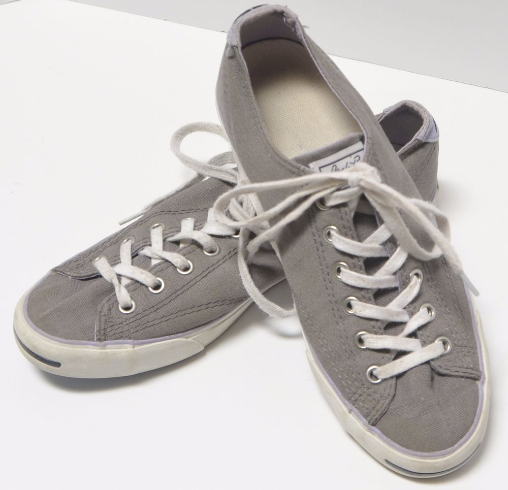 2966e9417214 Converse Jack Purcell Mens Size 7 Womens Size 9 Gray Grey Canvas Tennis Shoe   Converse  LaceUp
