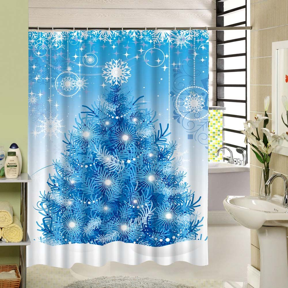 Blue Shower Curtain Christmas Tree & Snowflakes Blue Polyester ...