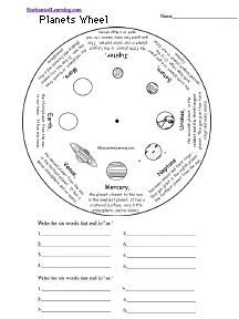 Planets Word Wheel: Printable Worksheet