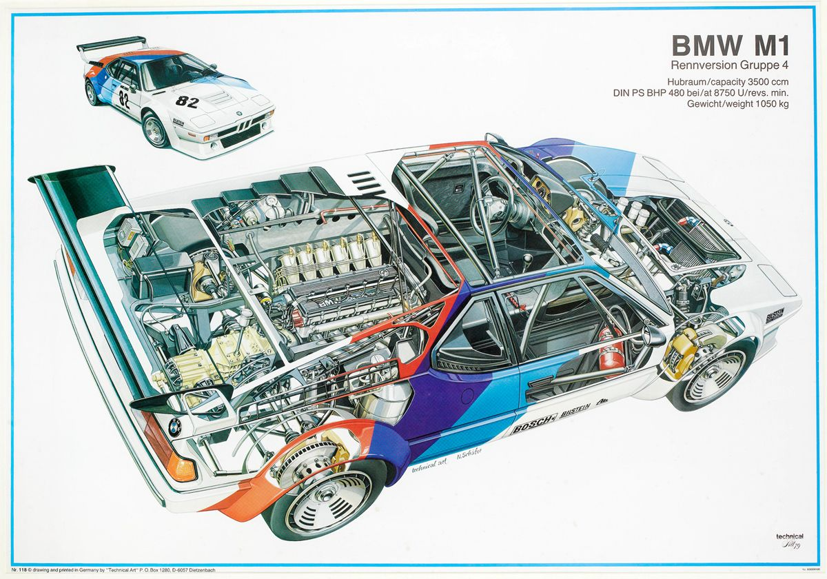 1979 bmw m1 pro car championship factory poster